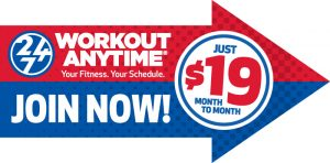 workout anytime spinner sign