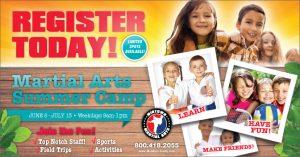 martial arts summer camp postcards