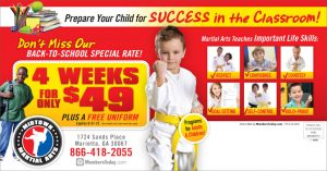 martial arts back to school postcards