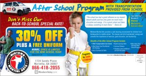 martial arts after school postcards
