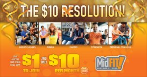 new year fitness direct mail postcard